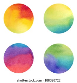 Watercolor circles collection, stains set isolated on white background.