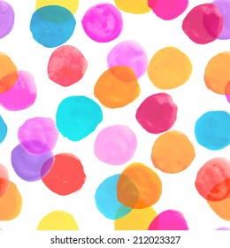 Watercolor circles seamless pattern. Colorful round shapes abstract background. Multicolor bubble on white. Polka dots color.