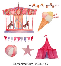 Watercolor Circus set. Hand drawn vintage carnival objects: ice cream, circus, carousel, garland, festoon bulbs, ball and star. Vector design elements