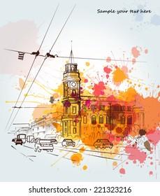 Watercolor city sketch