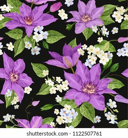 Watercolor Clematis Flowers. Floral Tropical Seamless Pattern for Wallpaper, Print, Fabric, Textile. Summer Background with Blooming Purple Flowers. Vector illustration