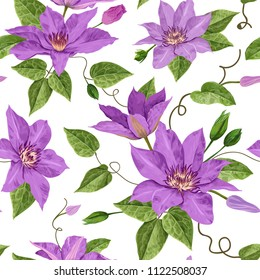 Watercolor Clematis Flowers. Floral Tropical Seamless Pattern for Wallpaper, Print, Fabric, Textile. Summer Background with Blooming Purple Flowers and Leaves. Vector illustration