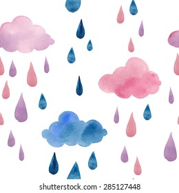 Watercolor clouds and rain drops seamless pattern. Hand drawn pink and blue stars wallpaper modern design. Vector background