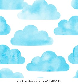 Watercolor clouds seamless pattern. Vector background