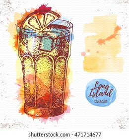 Watercolor cocktail long island ice tea sketch. Cocktail vector illustration