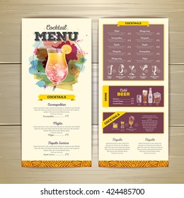 Watercolor cocktail menu design. Corporate identity