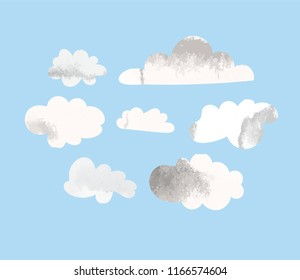 watercolor collection of vector clouds