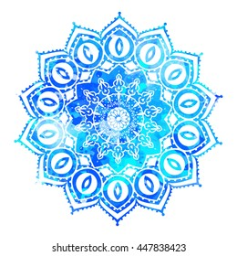 Watercolor color card with mandala. Geometric circle element vector. Art subject, Adults Coloring book. Kaleidoscope, medallion, yoga, india, arabic. Illustration for print, print, New year 2017