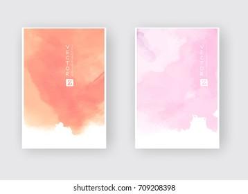 Watercolor color design banners set. Vector illustration