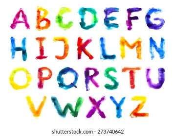 Watercolor colorful alphabet. Grunge handwritten type set. Rough vector painted font. Rainbow letters. Vector illustration.