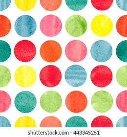 Watercolor colorful circles background. Polka dot seamless pattern. Vector wallpaper.
