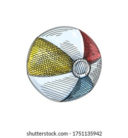 Watercolor colorful Hand-drawn sketch of a small inflatable striped beach ball on a white background. Toys for small children.