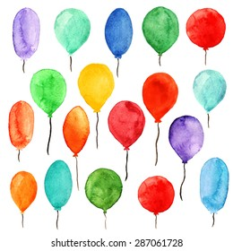 Watercolor colorful holiday sketch balloons set closeup isolated on white background. Hand painting on paper