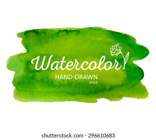 Watercolor colorful round spot. Watercolour painting. Highly detailed vector watercolor green stain.