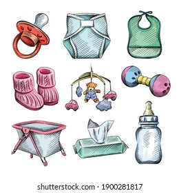 Watercolor colorful sketch set of baby and infants items. Pacifier, diapers, baby feeding bib, knitted baby booties, bed carousel, hanging rattle, noise rattle, playpen, wet wipes, milk bottle