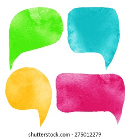 Watercolor colorful speech bubbles, frames set. Green, blue, yellow, red isolated on white background