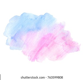 Watercolor colorful vector abstract shape hand drawn isolated splash on white background. Aquarelle blue pink color paper texture bright art element for design, decoration, tag