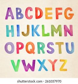 Watercolor colorful vector handwritten alphabet