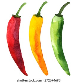 Watercolor colorful vegetables set red hot chili peppers, capsaicin closeup isolated on white background. Hand painting on paper