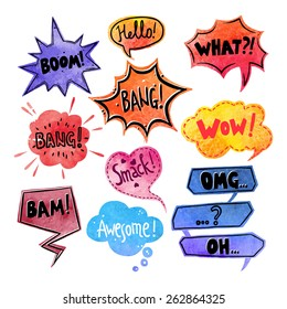 Watercolor comics speech bubble with expressions stickers set isolated vector illustration