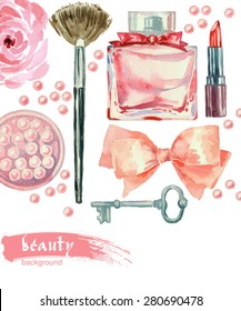 Watercolor cosmetics pattern. Hand painted seamless texture with make up artist objects: lipstick, blush, bow, key, perfumes,  brushes. Vector beauty background.