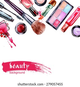 Watercolor cosmetics pattern  with make up artist objects: lipstick,  nail, perfumes, eye shadows, brushes, mascara . Hand drawn Vector beauty background.