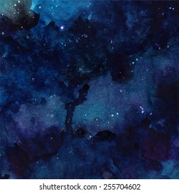 Watercolor cosmic texture with glowing stars. Night starry sky with paint strokes and swashes. Vector astronomy illustration.