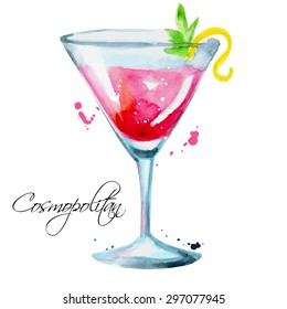 Watercolor cosmopolitan. Illustration for cooking site, menus, books. Vector isolated illustration
