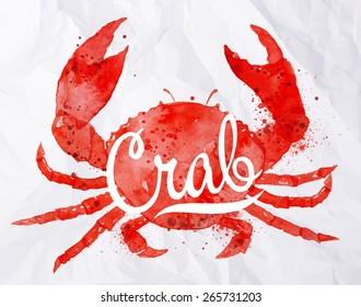 Watercolor crab with lettering on crumpled paper