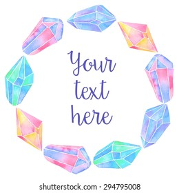 Watercolor crystals background