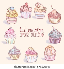 Watercolor Cupcake Collection - vector illustration, eps 10