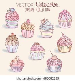 Watercolor Cupcake Collection - vector illustration set, eps10