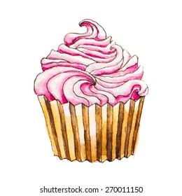 Watercolor cupcake. Vector illustration.