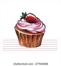 Watercolor cupcakes. Hand drawn, retro style. Vector illustration.