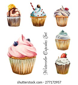 Watercolor cupcakes set with different type of cupcakes: strawberry, blueberry, chocolate. citrus, raspberry. Isolated. Easy to use for different design of menu, advertisement, cafe etc