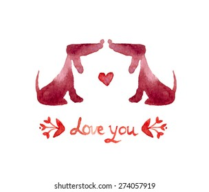 "watercolor dachshund silhouette. Love dog. valentine""s card. Love you. 2 lovely dogs in love. Watercolor greeting card template. Cute background for wedding invitation."