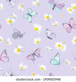 Watercolor daisy flowers and butterfly vector background. Seamless spring floral pattern. Summer beautiful textile, rustic wallpaper, camomile illustration, garden fabric, wrapping paper design