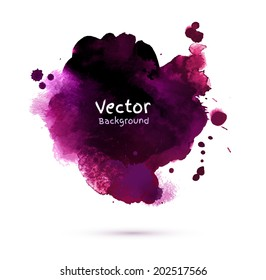 Watercolor dark vinous stain with smudges. Vector texture.