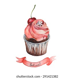 Watercolor decorative cupcake with ribbon and sample eat me text. Isolated. Easy to use for different design of menu, advertisement, cafe, postacrd, card etc