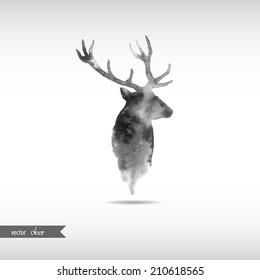 Watercolor deer head