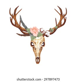 Watercolor Deer Skull, Coral Rose, Feathers & Cotton Flowers, isolated on white background. Boho style. Vector Element for your design. Hand drawn illustration. Ethnic themed design.