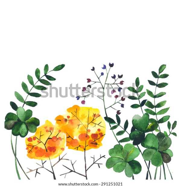 Watercolor Doodle Flowers Herbshand Drawn Leaves Stock Image ...