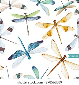 watercolor dragonfly pattern vector, white background