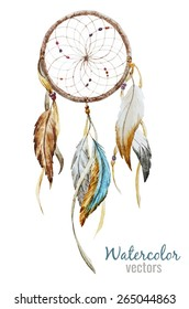 watercolor, Dreamcatcher, boho chic, ethnic, drawing