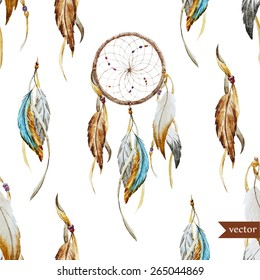 watercolor, Dreamcatcher, boho chic, ethnic, pattern, wallpaper,