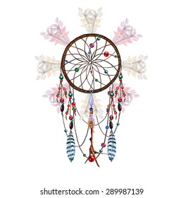 Watercolor Dreamcatcher, Feathers, Chicken?? Foot Charm & Beaded Ribbons, isolated on white background. Vector Element for your design. Hand drawn illustration.