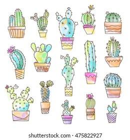 Watercolor effect cactus set illustration