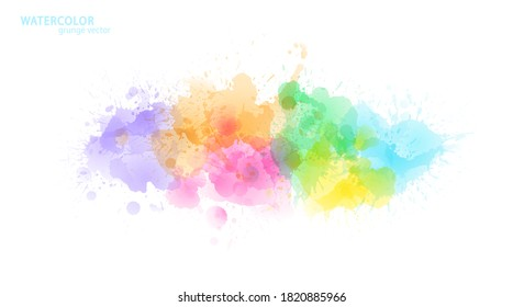 Watercolor effect vector stains. Grunge splatter. Rainbow colors grunge splash. Color explosion. Paint stains. Ink spots. Colorful splatter. Watercolor drops. Grunge colorful paint overlay.