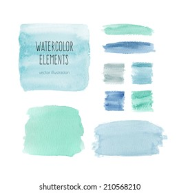 Watercolor elements for design in blue colors. Vector illustration
