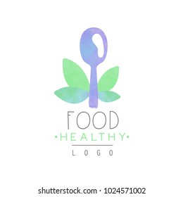 Watercolor emblem with spoon and green leaves. Colorful vector design for cafe or shop with organic products. Wellness concept. Healthy lifestyle. Fresh and natural food